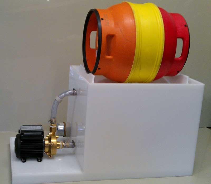 Polypropylene single sterilization cask washer shown with cask
