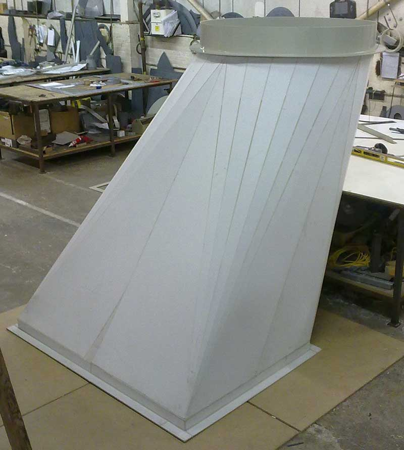 Glass backed Polypropylene (celmar) offset square to round before GRP lamination