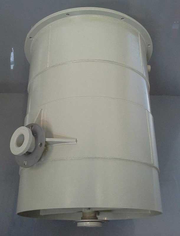 Polypropylene buffer vessel for powder