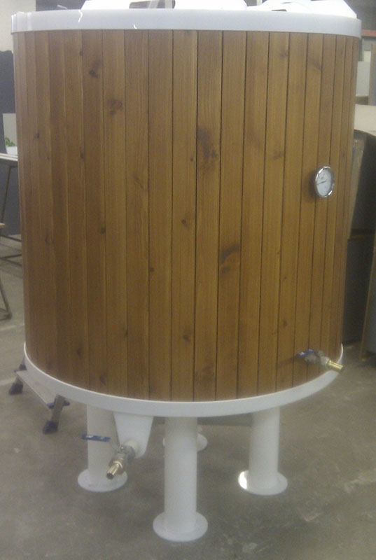 Polypropylene fermentor insulated and cladded with wood