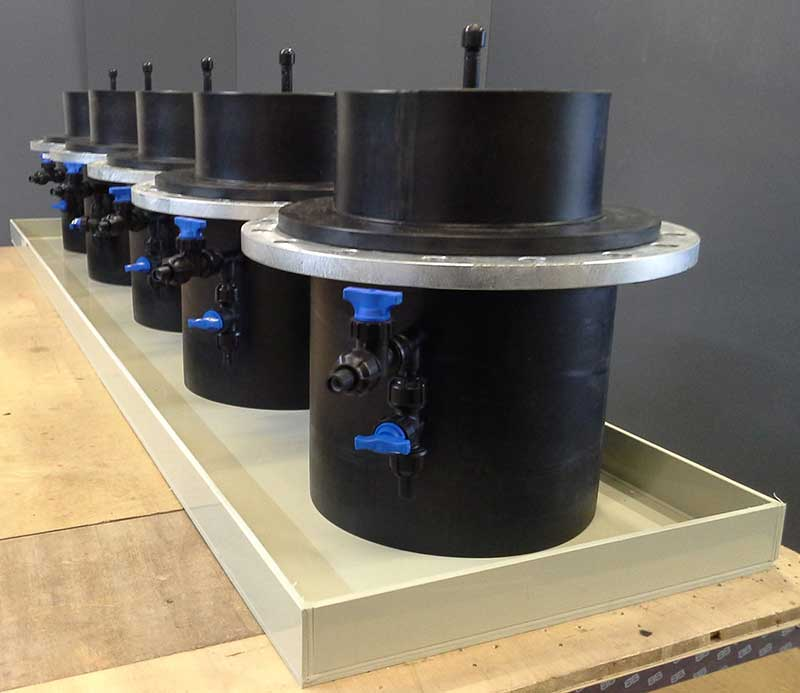 HDPE sample pots with Polypropylene drip tray