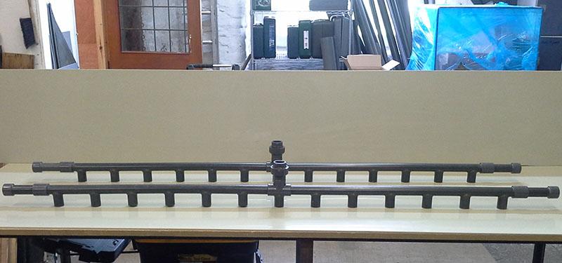 UPVC spraybars glued and hot air welded
